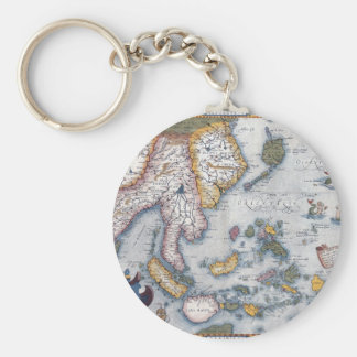 16th Century Map of South East Asia and Indonesia Basic Round Button Key Ring