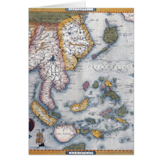 16th Century Map of South East Asia and Indonesia Greeting Card