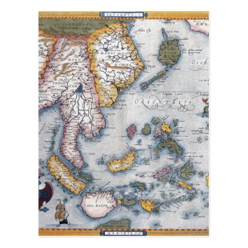 16th Century Map of South East Asia and Indonesia Post Cards