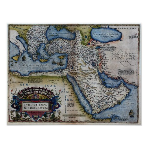 16th Century Map of The Middle East Print