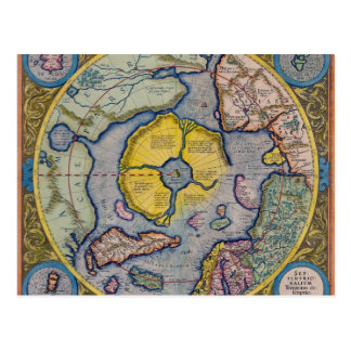 16th Century Mercator North Pole Map Post Card