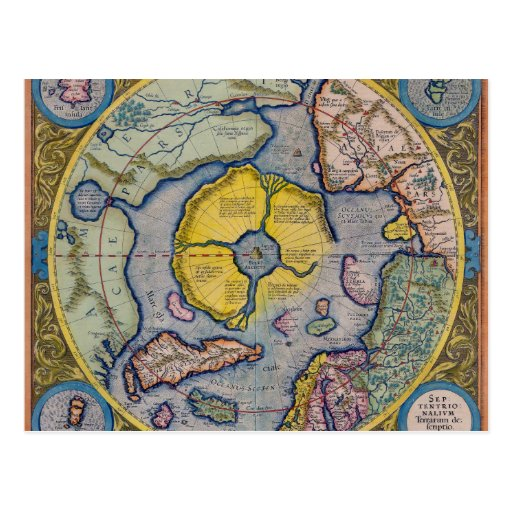 16th Century Mercator North Pole Map Post Card