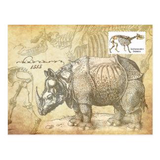 16th century Rhinoceros and skeleton Postcard