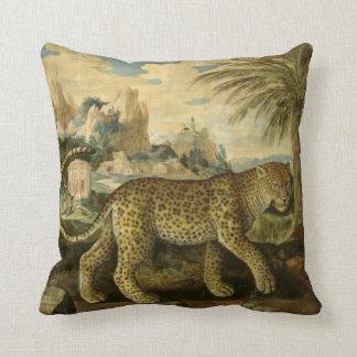 16th century tropical leopard cushion