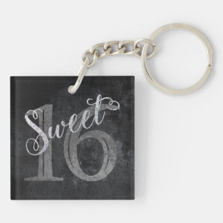 16th Charcoal Gray | Sweet 16 Silver Glitter | Key Ring