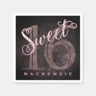 16th Dusty Pink Rose | Sweet 16 Silver Glitter Disposable Serviette