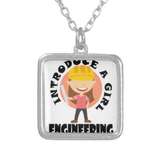 16th February Introduce A Girl To Engineering Day Silver Plated Necklace