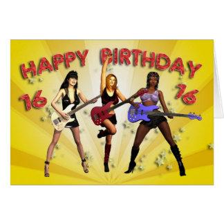 16th Rockin' birthday with a girl band Card