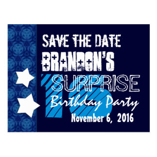 16th Surprise Birthday Save the Date Blue Stars Post Card