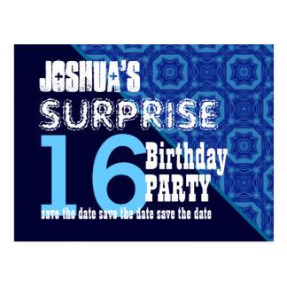 16th Surprise Birthday Save the Date Diagonal V2B4 Postcard