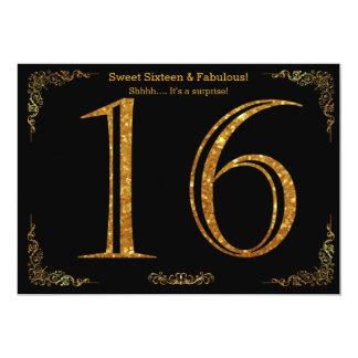16th, Sweet Sixteen, Birthday party,black glitter Card