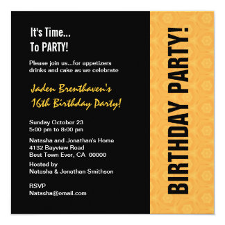 16th Teen Birthday Modern Gold and Black V841 13 Cm X 13 Cm Square Invitation Card
