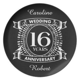 16TH wedding anniversary black and white Plate