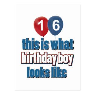 16th year birthday designs post cards