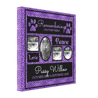 16x16 Purple Cheetah Pet Memorial Photo Collage Canvas Print