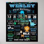 "16x20"" Animals First Birthday chalkboard poster"