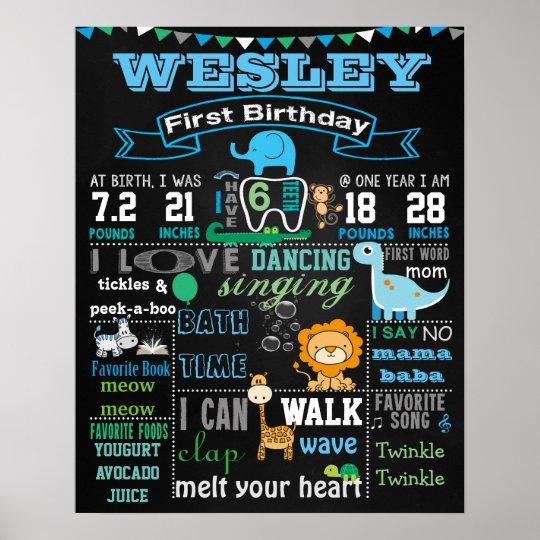 "Birthday Date Poster: 16x20"" Animals First Birthday Chalkboard Poster"