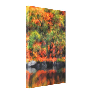 16x24 Nature's Autum Reflections Painting Canvas Print