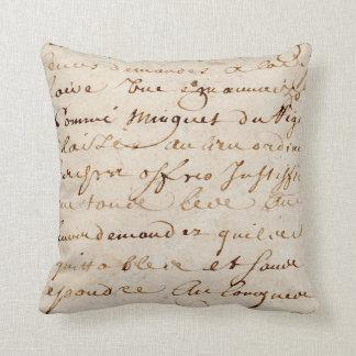 1700s Vintage French Script Grunge Parchment Paper Cushion