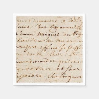 1700s Vintage French Script Grunge Parchment Paper Disposable Napkin