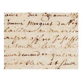 1700s Vintage French Script Grunge Parchment Paper Postcard