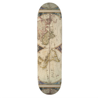 1702 A new map of the world 20 Cm Skateboard Deck