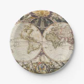 1702 A new map of the world 7 Inch Paper Plate