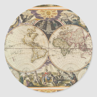 1702 A new map of the world Classic Round Sticker