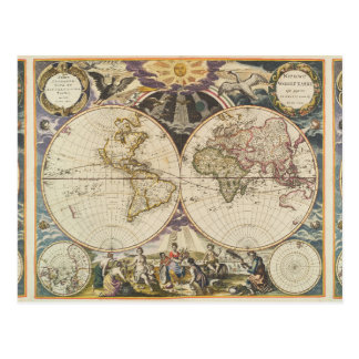 1702 A new map of the world Postcard