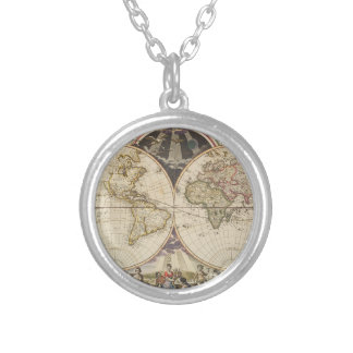 1702 A new map of the world Silver Plated Necklace