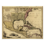 1710 Map of Mexico, Caribbean and North America Print