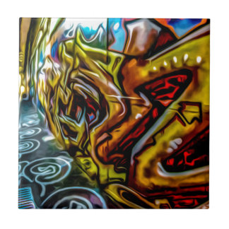 1711 COLORFUL STREET GRAFFITI GANGSTER CITY WALLS SMALL SQUARE TILE