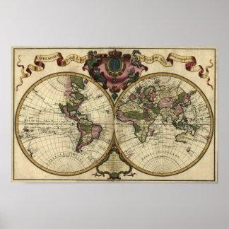 """1720 Guillaume deLisle"" Olde Worlde Map Poster"