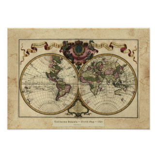 """1720 Guillaume DeLisle"" Olde Worlde Map Poster"