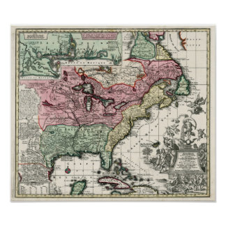 1720 Map of the Colonies of North America Poster