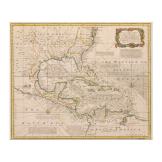 1720 Map of the West Indies by Emanuel Bowen Canvas Prints