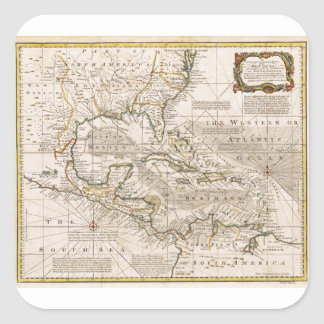 1720 Map of the West Indies by Emanuel Bowen Square Sticker