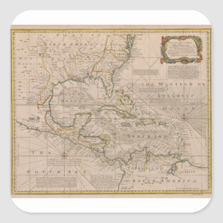 1720 Map of the West Indies by Emanuel Bowen Square Stickers