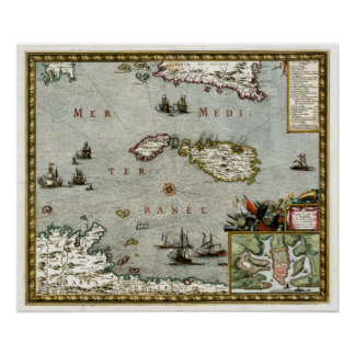 1723 Malta Map Posters