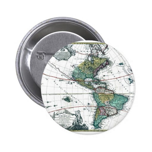 1725 South and North America Map Pinback Button