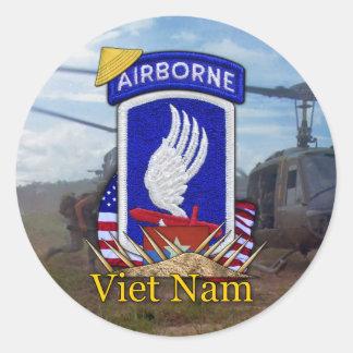 173rd abn airborne brigade vietnam war classic round sticker