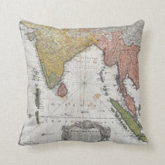 1748 Homann Heirs Map of India and Southeast Asia Cushion