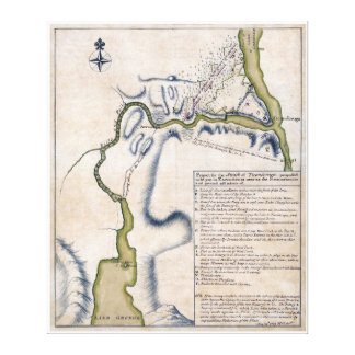 1759 Battle of Ticonderoga Military Map Stretched Canvas Print