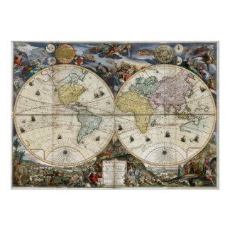 1766 World Map Poster