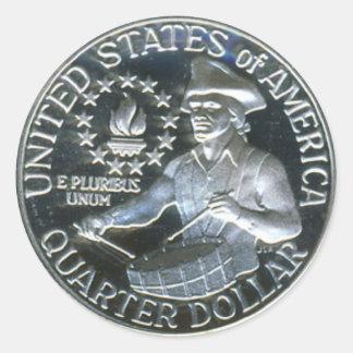 1776-1976 Bicentennial Drummer Boy Quarter Dollar Classic Round Sticker