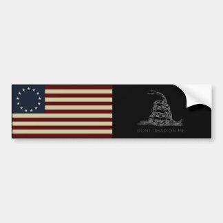 1776 Betsy Ross Flag / DONT TREAD ON ME Gadsden Bumper Sticker