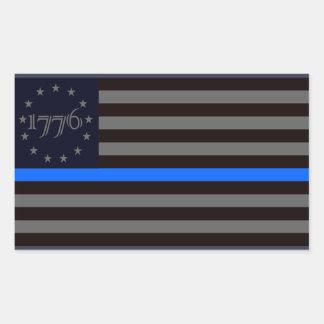 1776 Blue Line Rectangular Sticker