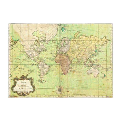 1778 Bellin Nautical Chart or Map of the World Gallery Wrap Canvas