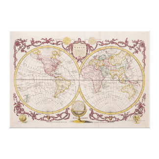 1782 Baldwyn Map of the World Stretched Canvas Prints
