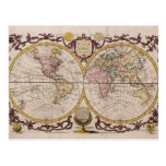 1782 Map of the World by George Augustus Baldwyn Post Cards